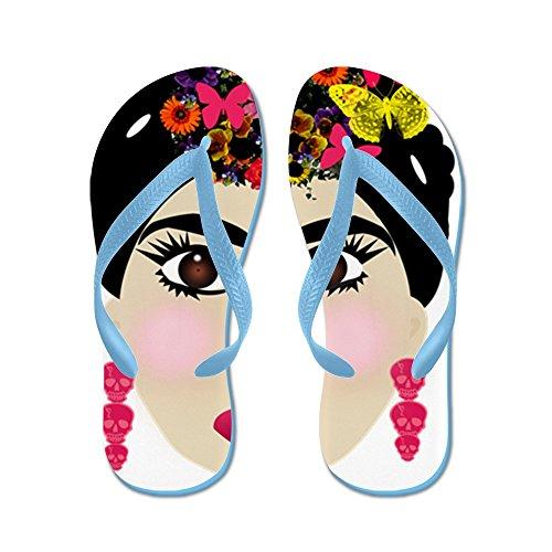 Cafepress Frida Khalo - Flip Flops, Roliga Rem Sandaler, Strand Sandaler Caribbean Blue