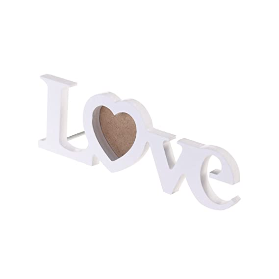 ROSENICE Marco de la boda del amor marco de la foto del monograma del recorte del arte de 3 pulgadas DIY (blanco): Amazon.es: Hogar
