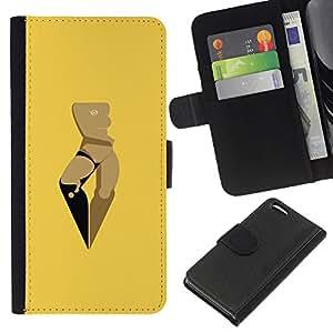Apple iPhone 5C Modelo colorido cuero carpeta tirón caso cubierta piel Holster Funda protección - Woman Yellow Art Minimalist