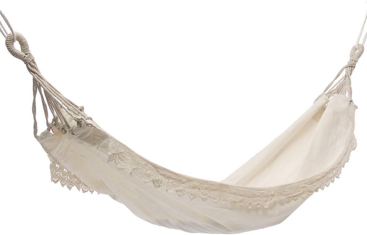 L.TSA Cama Columpio de Hamaca de algodón Descansar en el Patio, el Porche, el jardín o el Patio Trasero - Trabajo Pesado, liviano y portátil - Interior al Aire Libre - Blanco Natural