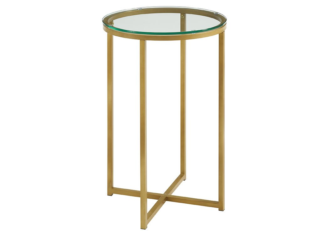"WE Furniture 16"" Round Side Table - Glass/Gold"