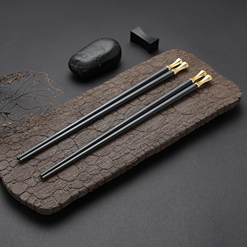 5 Pair Stainless Steel Chopsticks Gift Set Japanese Hotel Restaurant Chopsticks Set (World Cup Golden) by hopefulcom