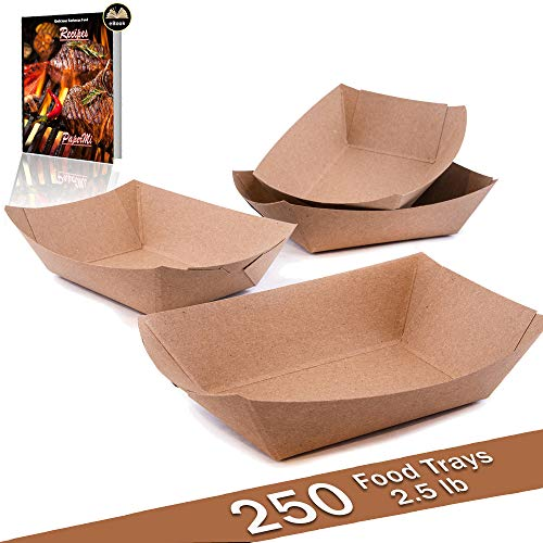 Carnival Food Ideas (Brown Kraft Paper Food Tray, Capacity of 2.5lb, Eco-Friendly Kraft Food Trays USA Made, FDA Approved Recyclable & Biodegradable, Convenient for All Event: Party, Camping, Carnival, BBQ...)