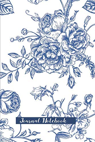Journal Notebook: Vintage Blue Flower Bouquet Cover With Roses, Peonies, Sweet Peas – White background – 120 pages