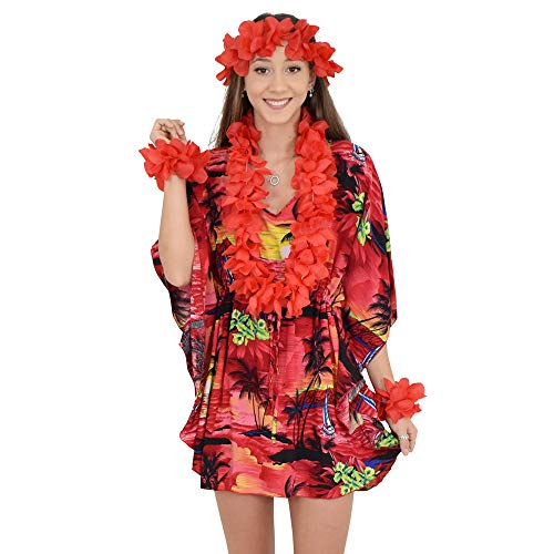ISLAND STYLE CLOTHING Poncho + Lei Set (Red SS)]()
