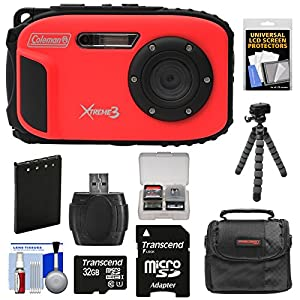 Coleman Xtreme3 C9WP Shock & Waterproof 1080p HD Digital Camera (Red) with 32GB Card + Battery + Case + Flex Tripod + Kit