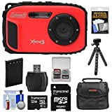 underwater camera coleman - Coleman Xtreme3 C9WP Shock & Waterproof 1080p HD Digital Camera (Red) with 32GB Card + Battery + Case + Flex Tripod + Kit
