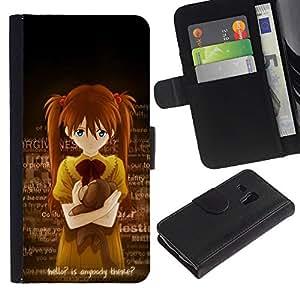 Ihec-Tech / Flip PU Cuero Cover Case para Samsung Galaxy S3 MINI NOT REGULAR! I8190 I8190N - Cute Anybody There Japanese Girl