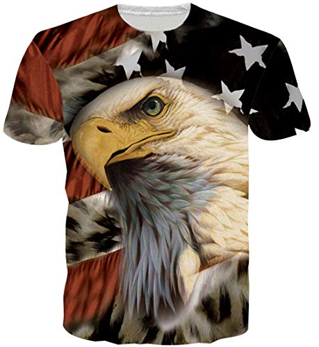Loveternal 3D USA T Shirt Graphic Tees for Men Raw Animal Bird T Shirts Unisex USA Flage Short Sleeve 1776 Apparel Vintage T-Shirts for Men Fourth July 80s Outfit Workout Top Patriot Clothes M]()