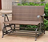 International Caravan 523812-OG-145564-O-783340 Wicker Resin/Steel Single Hanging Patio Chair Swing, Antique Brown