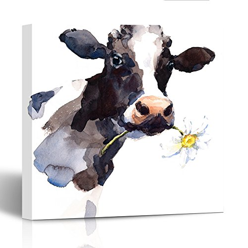 (Emvency Painting Canvas Print Wooden Frame Watercolor Cow with Daisy Flower in Its Mouth Farm Animal Portrait Hand 20x20 Inches Wall)