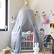 Didihou Mosquito Net Bed Canopy Yarn Play Tent Bedding for Kids Playing Reading with Children Round Lace Dome Netting Curtains Baby Boys and Girls Games House (Grey)