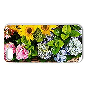 Basket of flowers - Case Cover for iPhone 5 and 5S (Flowers Series, Watercolor style, White)