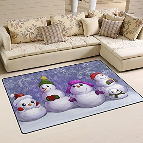 Naanle Merry Christmas Area Rug 3'x5', Funny Snowmen Snowflake Polyester Area Rug Mat for Living Dining Dorm Room Bedroom Home - 5' Snowmen