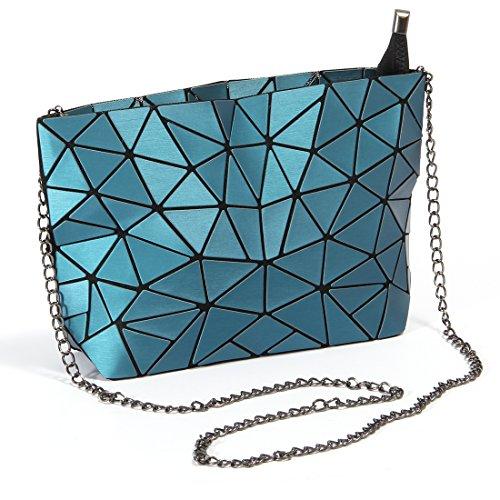 Obvie Fashion Rainbow Shoulder Bag Geometric Gradient Colorful PU leather Womens Handbag (Blue)