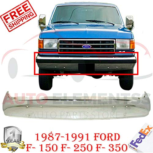 New Front Bumper Chrome Steel For 1987-1991 Ford F-150/ F-250 F-SERIES BRONCO XL Extended XLT Lariat Crew Cab Pickup W/o Impact Strip Holes Direct Replacement FO1002209 - Diesel Xl Series