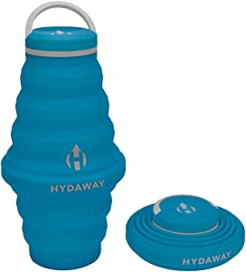 HYDAWAY Collapsible Water Bottle, 25oz Cap Lid | Ultra-Packable, Travel-Friendly, Food-Grade Silicone (Bluebird)