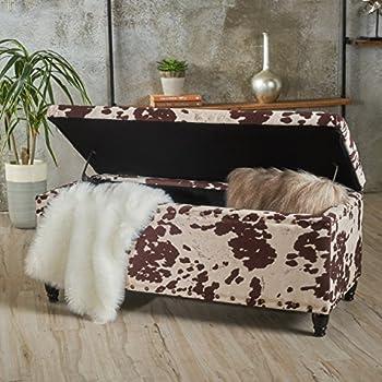 Amazon Com Ottoman Black Cow Hide Fabric Storage Bench