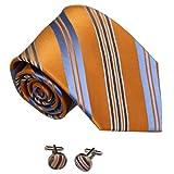 8009 Orange Blue Striped Anniversary Discount Silk Neckties Cufflinks Set By Y&G