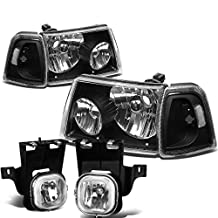 Ford Ranger 4pcs Pair of Black Housing Clear Corner Headlights + Clear Lens Fog Lights