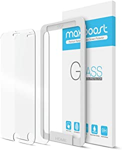 iPhone 8 Plus / 7 Plus Screen Protector, Maxboost [2 Pack] Premium Apple iPhone 7 Plus/iPhone 8 Plus / 6s Plus / 6 Plus Tempered Glass Protectors [Worry-Free] Compatible 3DTouch/Most Case 2016 2017