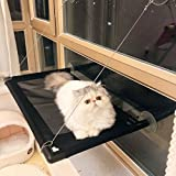 Cat Bed Hammock Perch Window Sunny Seat for Lager Cats Perches Furniture Two Kitty Window Sill Seat Window Mounted Animal Pet Kitten Cot Beds Gre1Bee Upgraded Version 4 Big Suction Cups Holds Up 50lb (Cat window bed)