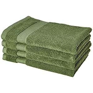 Amazon Brand – Solimo Bamboo Bliss 4 Piece Hand Towel Set, 575 GSM (Sage Green)