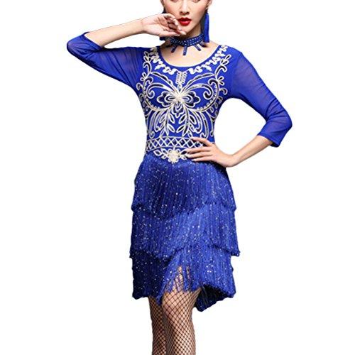 Zhhmeiruian Sexy Tassel Latin Dance Dress Womens Costume Ballroom Skirt Clothing (Sexy Ballroom Dress)