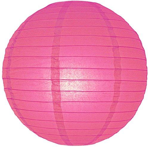 "Quasimoon 14"" Fuchsia / Hot Pink Round Paper Lantern, Even Ribbing, Hanging Decoration by PaperLanternStore"