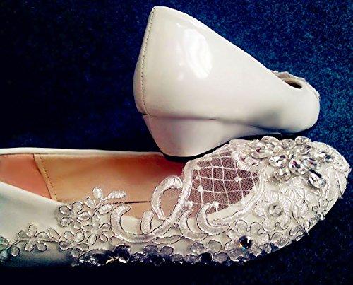Talón Blanca Tamaño cm JINGXINSTORE Novia Crystal US 10 Boda Cordón el bajo 5 Marfil 5 de Zapatos 3 9 de BTx1qOwIx