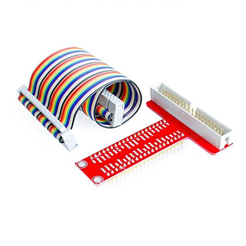 Haitronic T Type RPi GPIO Breakout Expansion Board + Assembled T Type GPIO Adapter + 20cm FC40 40pin Flat Ribbon Cable for Raspberry Pi 3 2 Model B & B SC05