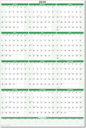 (Earth Green 2019 Dry-erase Vertical Wall Calendar 24 in. X 36 in. GR-MA)