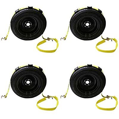 "2"" x 14' OEM Replacement Wheel Strap w/ two 90 degree Swivel J Hooks - 4 Pack"