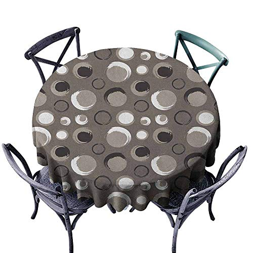 ScottDecor Patio Round Tablecloth Jacquard Tablecloth Taupe,Grunge Circles Dots Brushstrokes Hand Painted Modern Design Messy Artistical, Black White Taupe Diameter 36