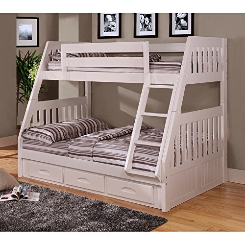 American Furniture Classics 0218-TFWM White Pine Twin over Full Bunk Bed with 3-Drawer Underbed Storage (Pine Underbed Storage)