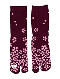 Corazon Women's Tabi Socks with Japansese Design 22-25cm Evening Sakura