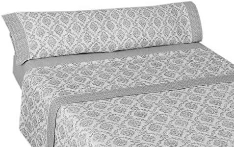 Montse Interiors, S.L. Juego de Sábanas Térmica de Franela 170gr/m2 Algodón 100% Ornament Gris(Berna Gris, para Cama de 90x190/200): Amazon.es: Hogar