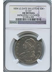 1834 Draped Bust Half Dollar AU NGC