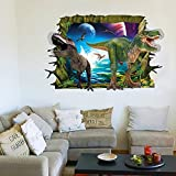 Dushang 3D Cartoon Dinosaurs Broken Wall Removable Wall Stickers Vinyl Decals for Kids Rooms Decor