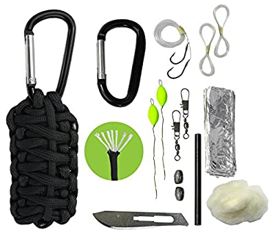 Paracord Survival Grenade Emergency Keychain Survival Kit - 7 Strand 550 Paracord, Flint Fire Starter, Carabiner, Blade and Fishing Tools for EDC Every Day Carry from Survival Frog