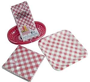 BBQ Party Picnic Bundle: Paper Plates, Napkins, Red Deli Baskets & Waxed Gingham Basket Liners (53 Piece Set)