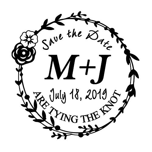 Custom Wedding Stamp SAVE THE DATE Flower Rose Leaf Wreath Design Invitation Mounted Gift Ideas Rubber Stamper