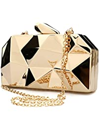 Womens Geometic Clutch Purse Fashion Abstract Stone Cut Hardcase Handbag