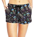 Deep Sea Jellyfish Womens Novelty Elastic Waist Shorts Quick Dry Lightweight Beach Shorts