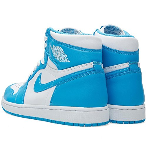 [555088-117] Air Jordan AJ 1 Retro High OG Mens Sneakers Air JORDANUNC White Dark Powder BlueM NSHso