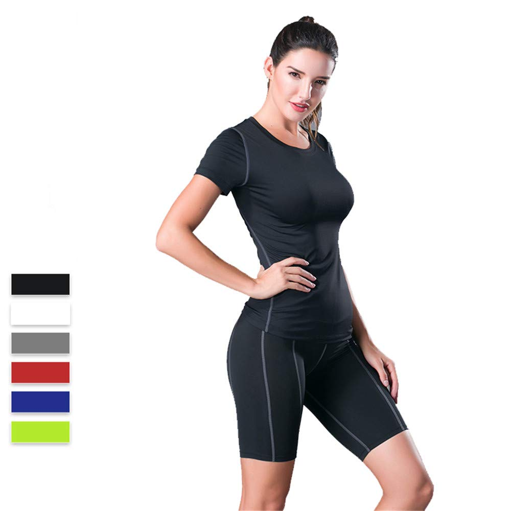 Black Women's Sports Suit Tight Yoga Sports Set Wear Short Sleeve Quick Drying Shorts 2 Piece Set Female Professional Slim Morning Run Fitness Fitness Yoga Running Sportswear (color   Black, Size   XL)
