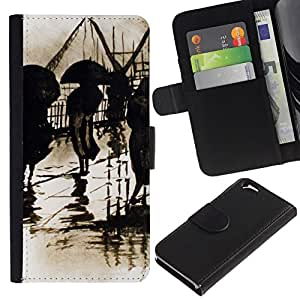 All Phone Most Case / Oferta Especial Cáscara Funda de cuero Monedero Cubierta de proteccion Caso / Wallet Case for Apple Iphone 6 // Retro Rain Vintage Painting Art