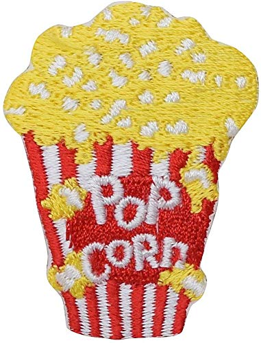 - Movie Style Popcorn - Junk Food - Iron on Embroidered Patch Applique