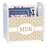 Personalized Beige and White Squares White Book Caddy and Rack