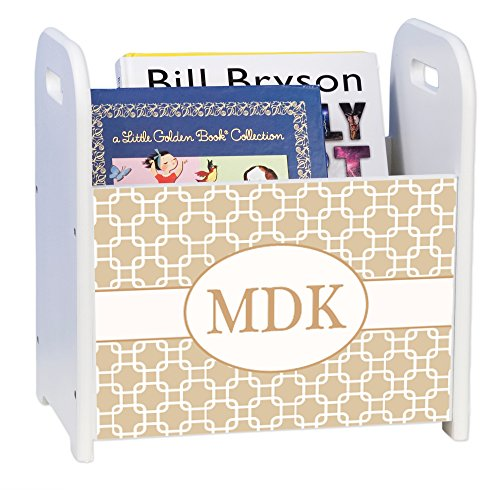 Personalized Beige and White Squares White Book Caddy and Rack by MyBambino